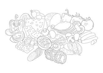 hand drawn food illustration