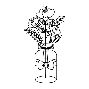 mason jar with beautiful flowers decoration