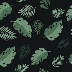 Seamless Tropical Leaves Pattern. Seamless Floral Background. Flat Jungle Print