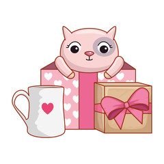 gift box present with cute cat