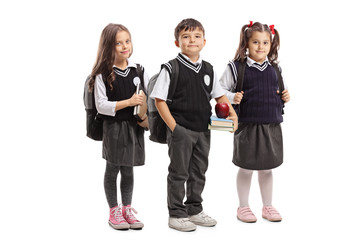 Schoolchildren in a uniform posing