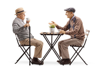 Two senior men sitting at a coffee table and talking
