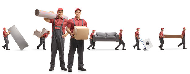 Guys from a moving company carrying home appliences and furniture