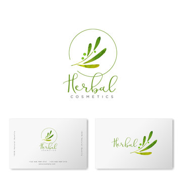 Herbal  cosmetics logo. Green leaves and lettering. Identity. Business card.