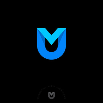M and U letter in a shield. M, U origami monogram consist of blue ribbon. Web, UI icon, isolated on a dark background.