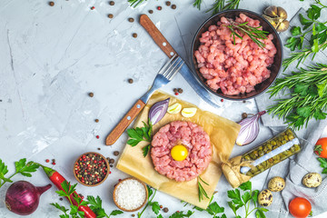 Minced beef meat and steak tartare with yolk