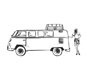 Vector illustration with the bus and young girl. The van. Travel sketch
