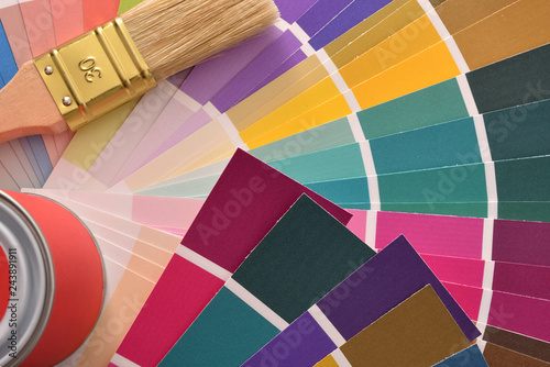 Brush And Paint Pot On Colour Chart Top View Stock Photo And