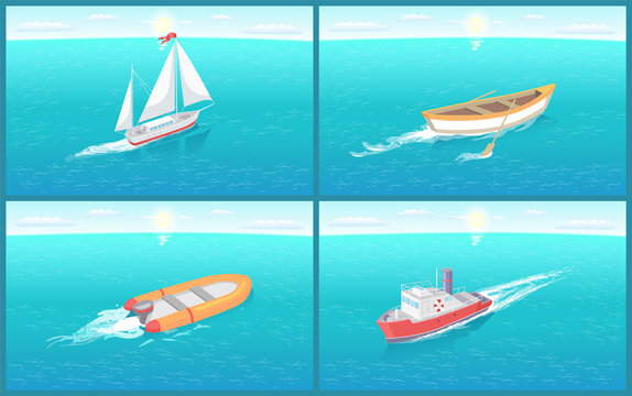 Water Transport and Wooden Rowing Boat Vector