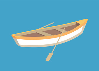 Fishing Boat with Oars, Marine Traveling Vessel