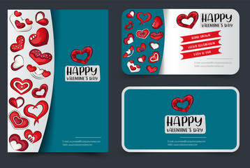 Valentine's day flyer and business cards set. Background for advertisement, invitation, brochure template. Hand drawn doodle cartoon style love and hearts concept. Vector illustration.