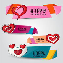 Valentine's day horizontal banner set. Cute header for invitation, advertisement, web page. Hand drawn  doodle cartoon style love and hearts design concept. Vector illustration.