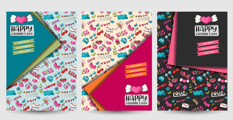 Valentine's day flyer or posters set. Background for advertisement, menu, brochure template. Hand drawn doodle cartoon style love and hearts decoration concept. Vector illustration.