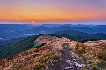 Obraz Sunset. Beautiful panoramic view of the Bieszczady mountains in the early autumn, Bieszczady National Park (Polish: Bieszczadzki Park Narodowy), Poland. - fototapety do salonu