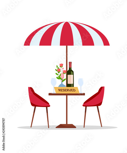 Reserved Table In Park Cafe Under Parasol Flat Cartoon Vector