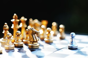 Chess game, business competitive concept, encounter difficult situation