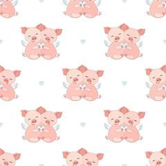 Piggy Seamless Vector Pattern.Vector background. Set Vector Illustration
