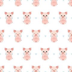 Piggy Seamless Vector Pattern.Vector background. Set Vector Illustration