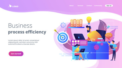 Business team and work process steps from idea to target. Business workflow, business process efficiency, working activity pattern concept. Website vibrant violet landing web page template.