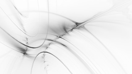 Abstract white background. Fractal graphics. Three-dimensional composition of glowing lines and mption blur traces. Movement and innovation concept.