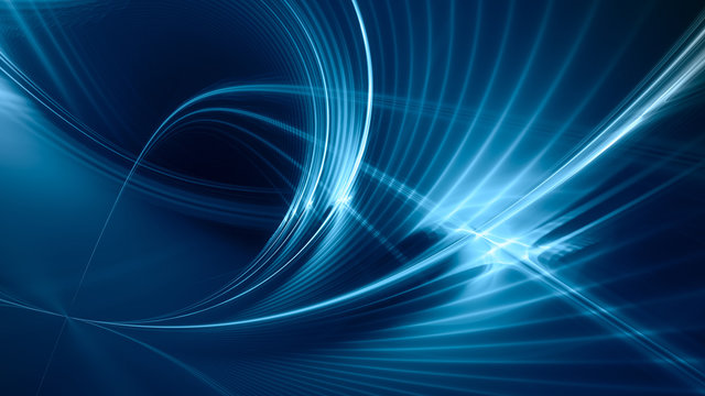 Abstract blue background element on black. Fractal graphics. Three-dimensional composition of glowing lines and mption blur traces. Movement and innovation concept.
