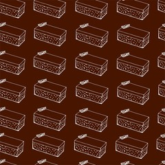 White outline cupcake seamless pattern on chocolate background. Perfect for packaging, textiles, design.