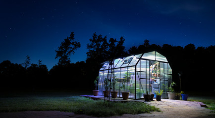Night greenhouse lighted with stars