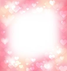 Pink gentle frame, background with defocused hearts