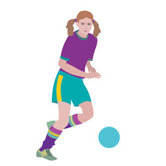 Soccer girl. Young woman playing soccer. Hand drawn vector illustration, flat color on white background.