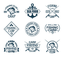Set of isolated icons with fish for fisherman club