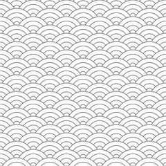 Seamless pattern. Wave. Fish scales texture. Vector illustration. Scrapbook, gift wrapping paper, textiles. Black and white simple background