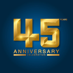 45 years anniversary celebration logotype. Golden anniversary emblem with ribbon. Design for booklet, leaflet, magazine, brochure, poster, web, invitation or greeting card.