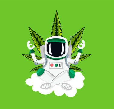 Astronaut  meditating on the cloud, green cannabis leaf
