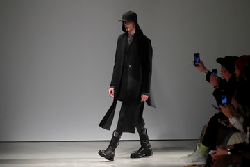A model presents a creation by designer Boris Bidjan Saberi as part of his Fall/Winter 2019-2020 collection show during Men's Fashion Week in Paris