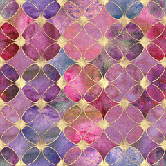 Seamless watercolour colorful gold glitter abstract texture.