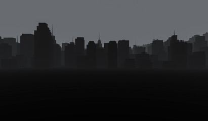 Dark Cityscape background. Black buildings with smoke. 3D Rendering Illustration.