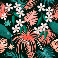 Tropical vector seamless pattern in Living Coral color.