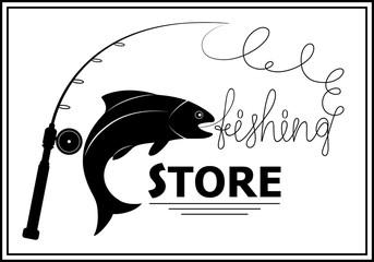 Vector fishing emblem. Fish logo template