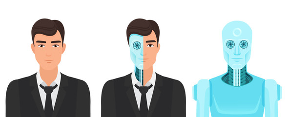 Human man turns into a robot. Forever life future reality of medicine transformation vector illustration.