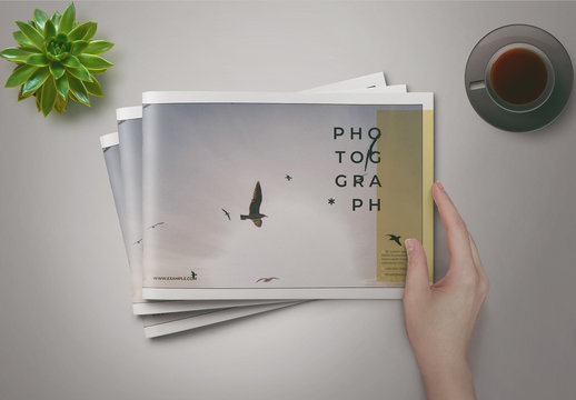 Photo Album Layout With Yellow Accents