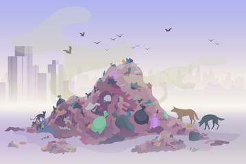 Smelling landfill waste landscape with city skyscrapers on the background. Pollution Environment concept vector illustration.