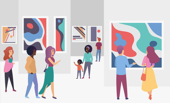 Exhibition gallery visitors viewing trendy abstract paintings pictures in modern art gallery vector illustration.