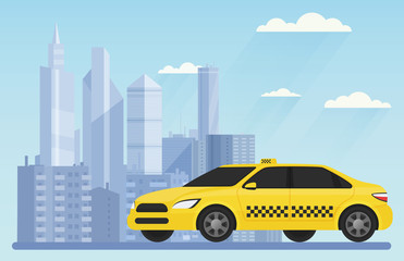 Yellow modern taxi car on the urban city background landscape vector illustration.