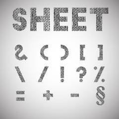Sheet, texturized font, vector