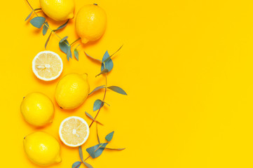 Wall Mural - Ripe juicy lemons and green eucalyptus twigs on bright yellow background. Lemon fruit, citrus minimal concept. Creative summer food minimalistic background. Flat lay, top view, copy space.