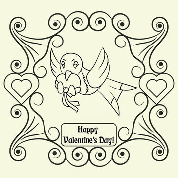 contour illustration coloring on the theme of Valentines day, the bird carries in its beak a postal envelope, ready layout for design, postcards stickers and printed products