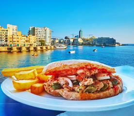 Tuna sandwich with capers, Sliema, Malta