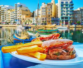 Breakfast at Spinola Bay, St Julian's, Malta