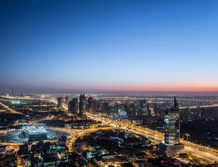 Dubai Panoramic View From Top at sunrise
