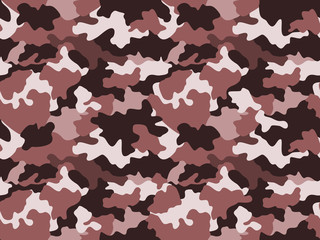 Camouflage pattern background in brown colors, seamless. Military fashion abstract geometric texture.